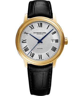 RAYMOND WEIL maestro gold black leather watch 2237