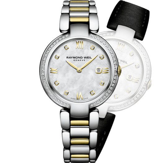 RAYMOND WEIL shine ladies two-tone gold stainless steel 57 diamond bracelet watch