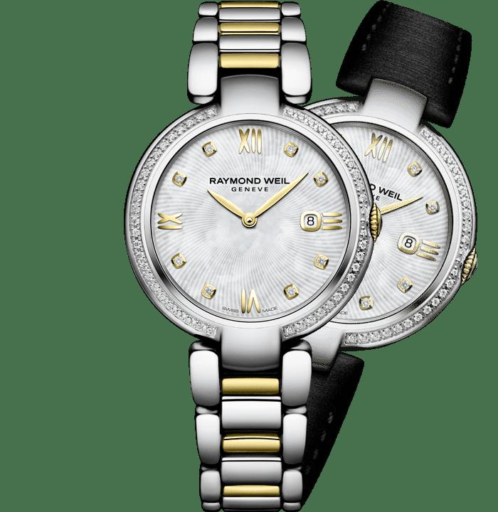 montre-bracelet bicolore en acier inoxydable doré et 57diamants shine pour femme RAYMOND WEIL