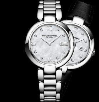 montre à quartz en acier à lunette en diamants shine pour femme RAYMOND WEIL