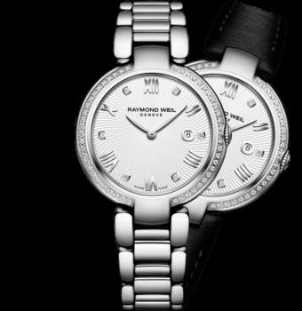RAYMOND WEIL 星耀系列女士全钻石表圈精钢石英腕表