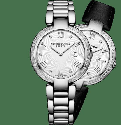 ساعة شاين كوارتز معدنية بمينا مرصعة بالماس بالكامل نسائية من ريموند ويل