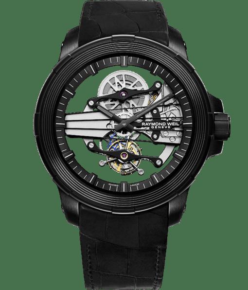 نابوكو - ساعة سكيلتون توربيلون سوداء للرجال - ريموند ويل