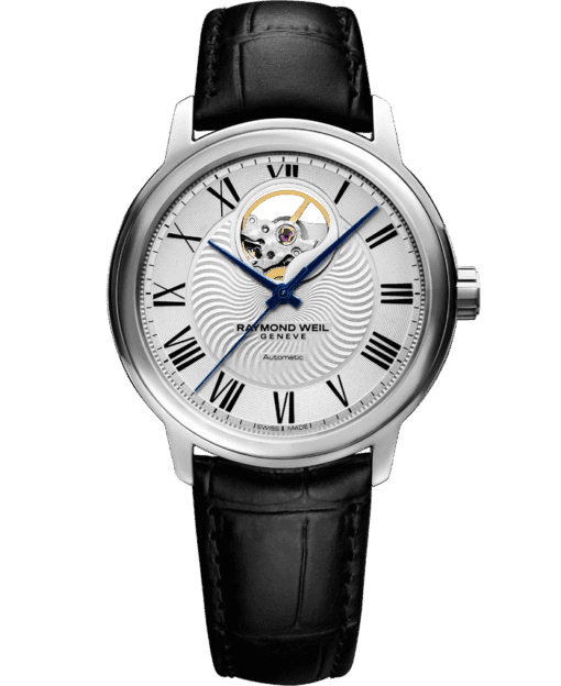RAYMOND WEIL 经典大师系列男士可见摆轮皮革表带腕表