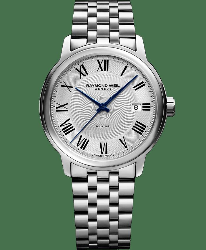 ساعة مايسترو الأتوماتيكية الكلاسيكية مع سوار من الفضة من ريموند ويل 2237
