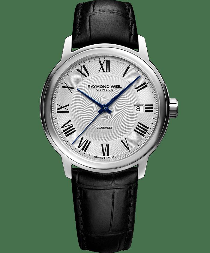 ساعة مايسترو 2237 ذات جلد أسود وفضة من ريموند ويل