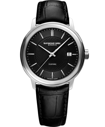 RAYMOND WEIL maestro black dial black leather watch 2237