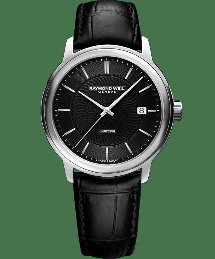 RAYMOND WEIL maestro black dial black leather watch 2237