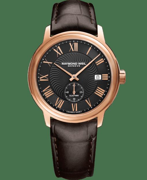 Montre en or rose et cuir brun RAYMOND WEIL Maestro classique pour homme
