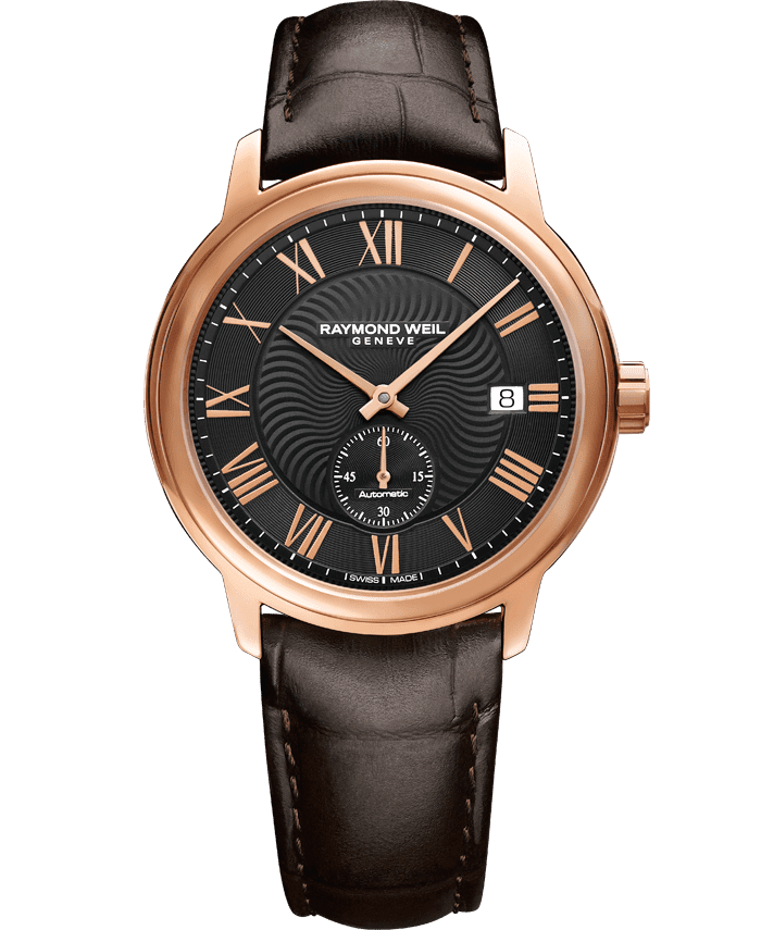 ساعة مايسترو كلاسيكية للرجال بمعصم من الجلد البني ومطلية بالذهب الوردي من ريموند ويل