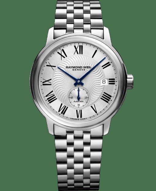 ساعة مايسترو للرجال أتوماتيكية مع الجلد الأسود وبها عقرب ثواني صغير من ريموند ويل