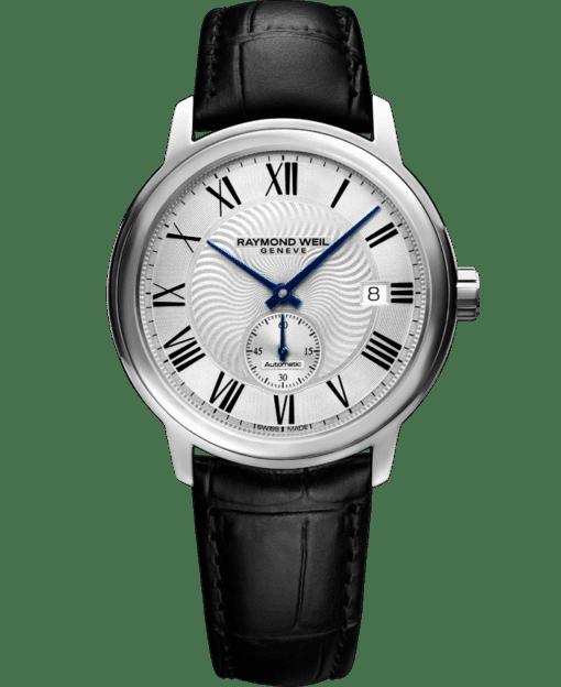 ساعة مايسترو للرجال أتوماتيكية مع معصم من الجلد الأسود وقرص للثواني من ريموند ويل
