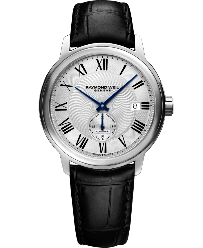 RAYMOND WEIL maestro men's small seconds automatic black leather watch