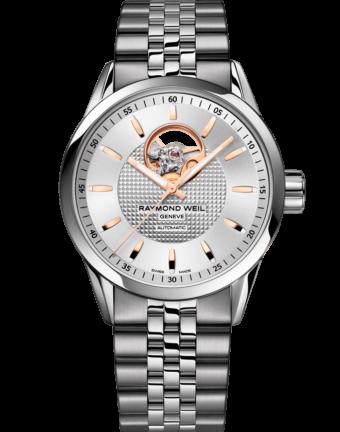Freelancer - 2710 Stainless Steel Open Aperture Silver Dial Watch - RAYMOND WEIL