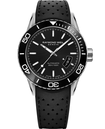 RAYMOND WEIL freelancer men's black rubber strap diver watch