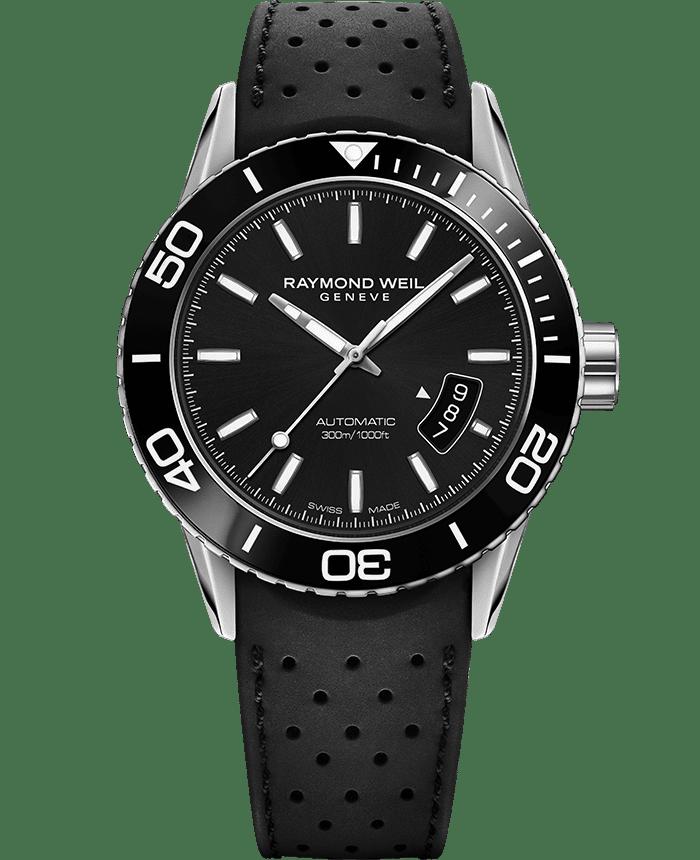 RAYMOND WEIL freelancer men's black rubber strap diver watch