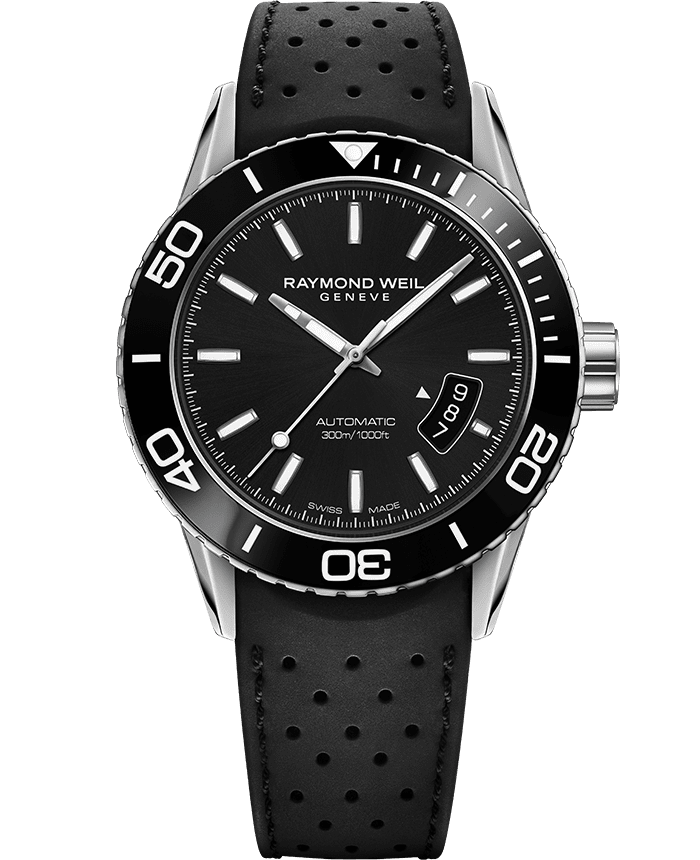 RAYMOND WEIL 自由骑士系列男士黑色橡胶表带潜水腕表