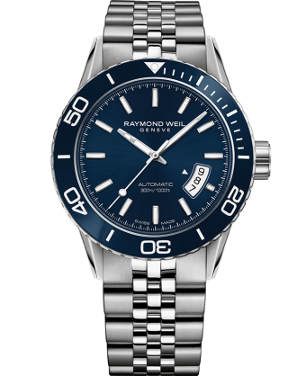 RAYMOND WEIL freelancer blue dial steel diver watch