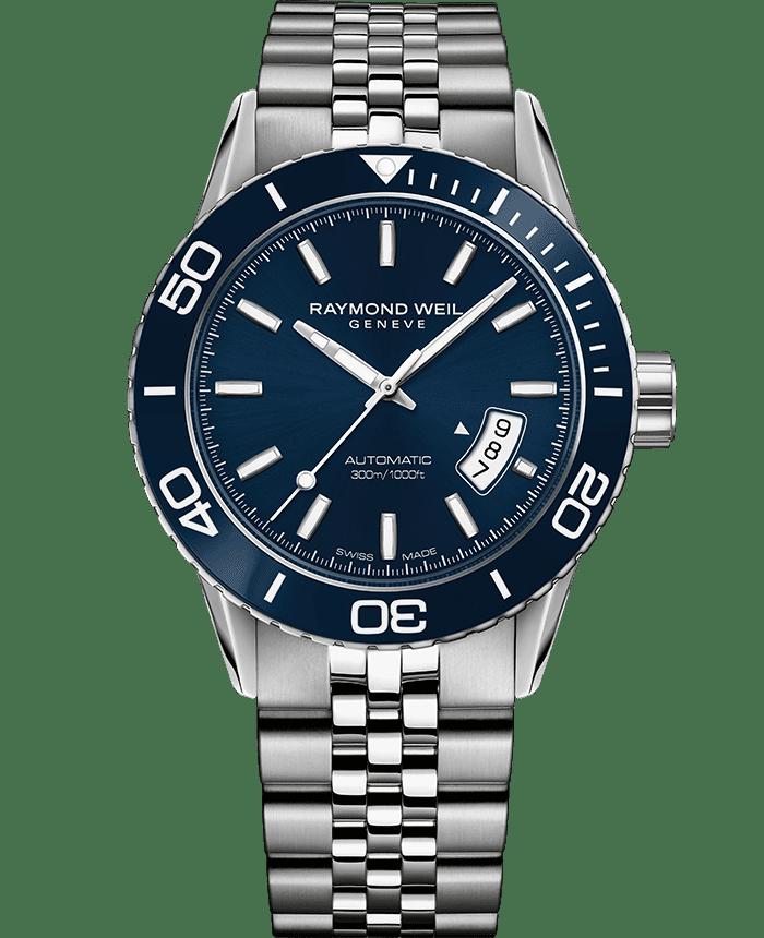 RAYMOND WEIL freelancer blue dial steel diver watch