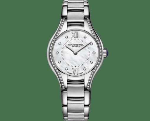 Montre à quartz en nacre et 62diamants RAYMOND WEIL Noemia pour femme en 24mm