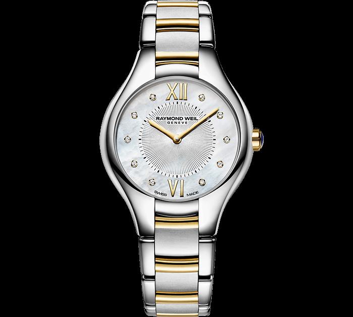 ساعة نويميا من الماس والذهب  درجتي لون من ريموند ويل