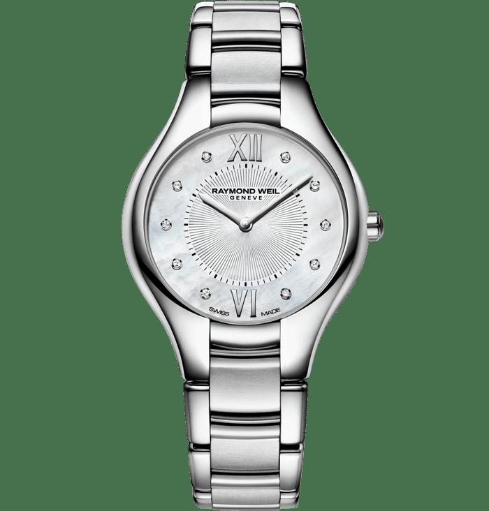 Ladies Silver Stainless Steel Diamond Quartz Watch Noemia