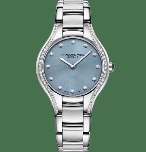 ساعة مرصعة بالماس كوارتز ومينا باللون الأزرق اللون من ريموند ويل
