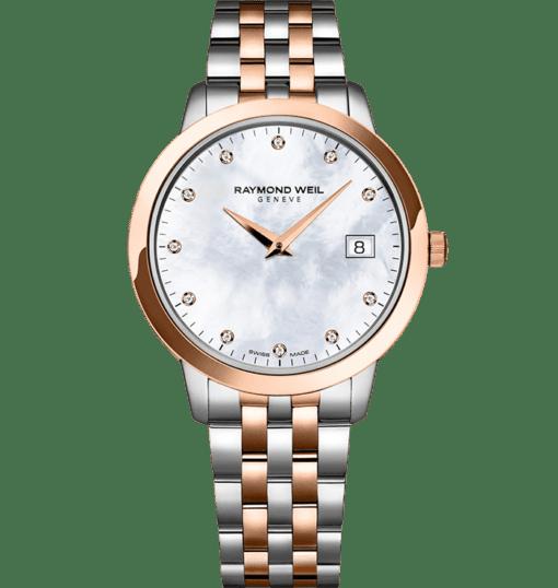 RAYMOND WEIL 托卡塔系列 34 毫米女士玫瑰金 11 钻石英腕表
