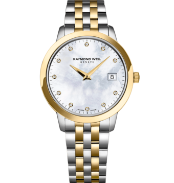 RAYMOND WEIL toccata ladies in 34mm two-tone gold 11 diamond quartz watch