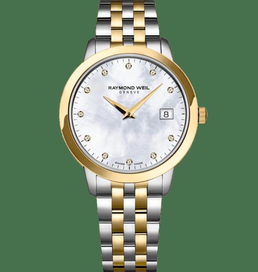 ساعة توكاتا بحركة كوارتز 11 ماسة ذهبية 34 ملم ذات درجتي لون من ريموند ويل