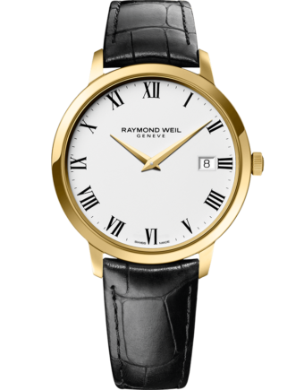 RAYMOND WEIL toccata men's classic gold black leather quartz 42mm watch
