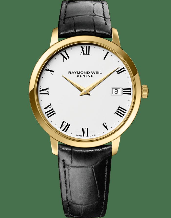 RAYMOND WEIL toccata men's classic gold black leather quartz 42mm watch