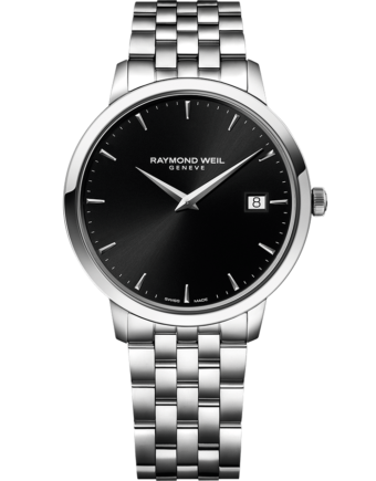 RAYMOND WEIL toccata men's classic steel black dial quartz date watch