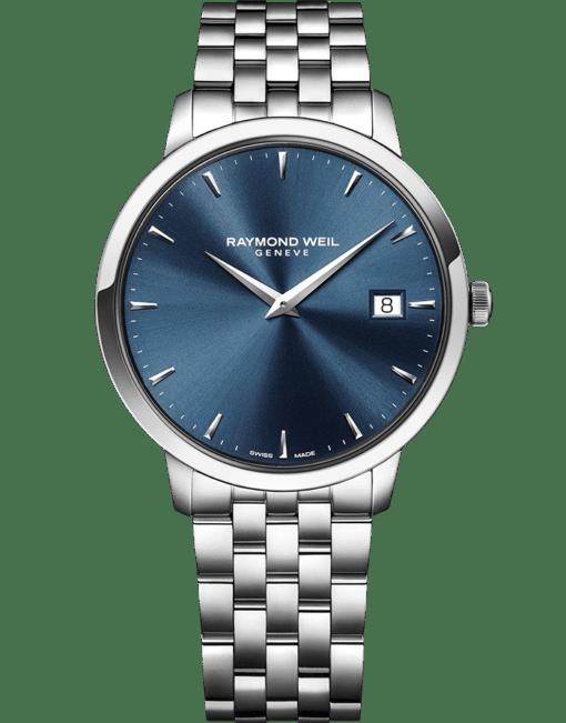 RAYMOND WEIL 托卡塔系列男士经典精钢蓝色表盘日期石英腕表