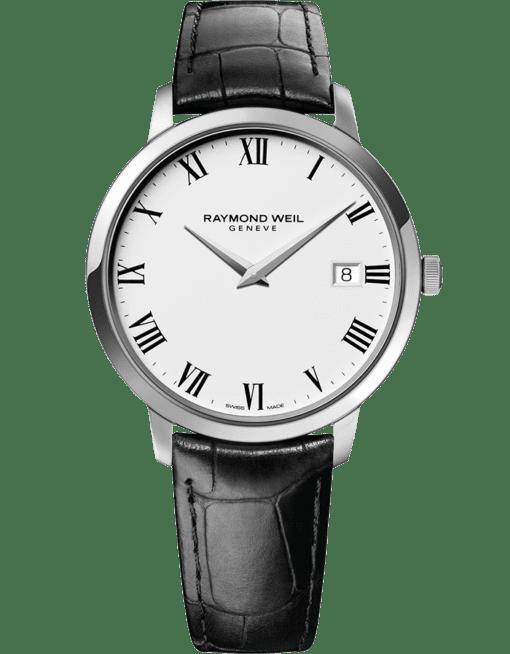 RAYMOND WEIL 托卡塔系列男士经典精钢白色表盘日期石英腕表