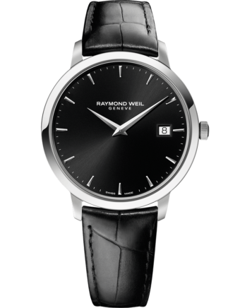 RAYMOND WEIL toccata men's Simplicity is of the essence with this toccata men's classic steel black leather strap dial quartz date watch