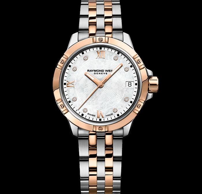 RAYMOND WEIL 探戈系列经典女士双色调不锈钢玫瑰金表链腕表