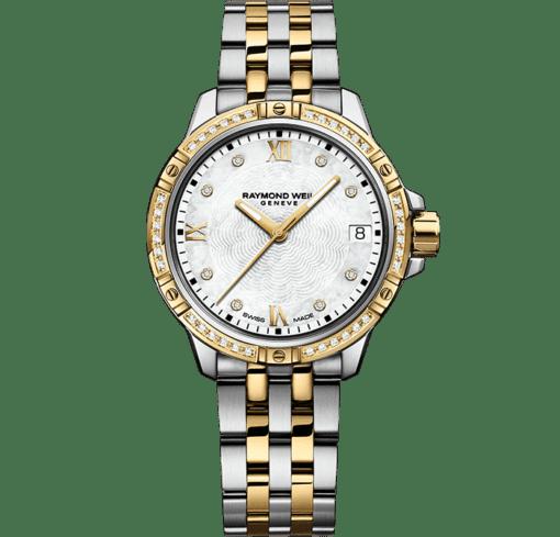 ساعة تانجو الكلاسيكية النسائية بسوار ذهبي مرصع بعدد 44 ماسة درجتي لون من ريموند ويل