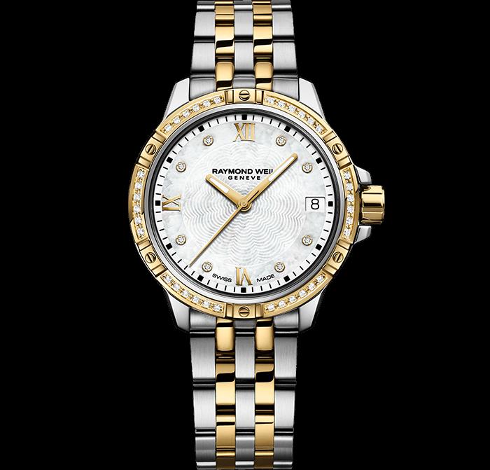 RAYMOND WEIL 探戈系列经典女士双色调44钻石金色表链腕表
