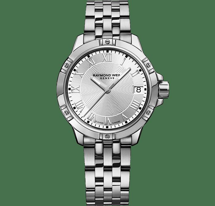 RAYMOND WEIL 探戈系列经典女士白色表盘精钢石英日期腕表