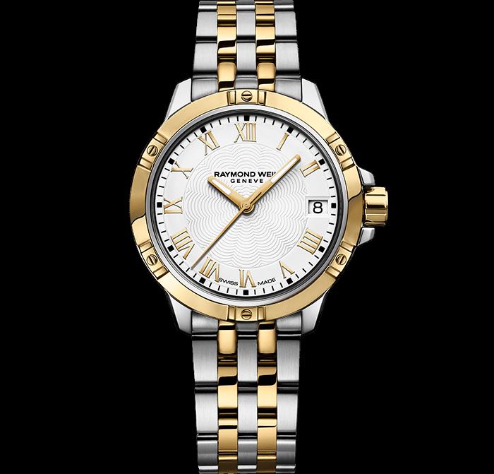 RAYMOND WEIL 探戈系列经典女士双色调金色精钢表链腕表