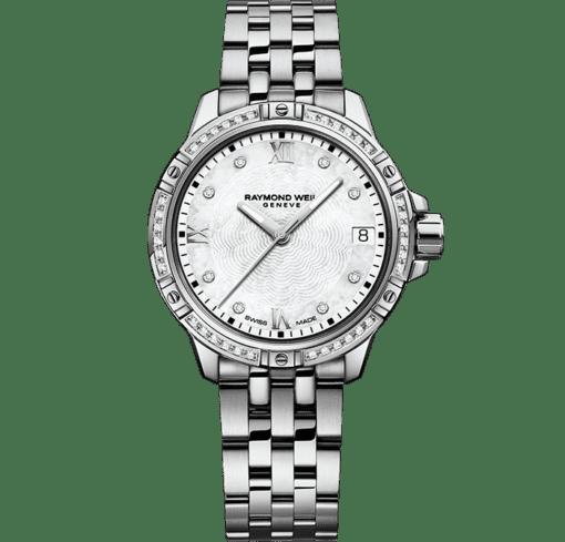 ساعة تانجو الكلاسيكية بحركة كوارتز مرصعة بالماس بلون معدني فضي نسائية من ريموند ويل