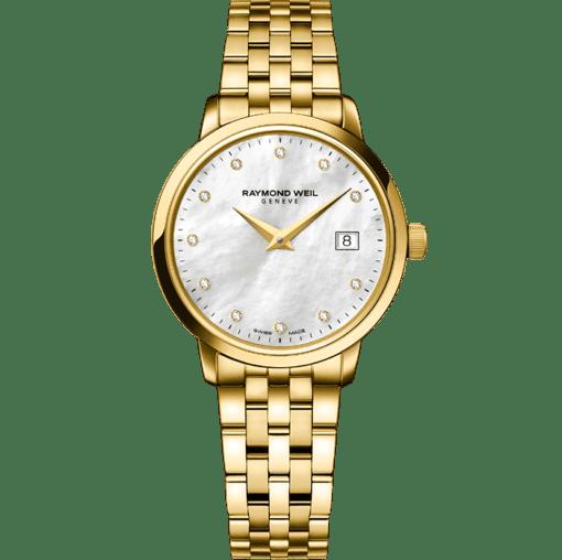 RAYMOND WEIL 托卡塔系列 5988-p-97081 女士经典黄金石英腕表
