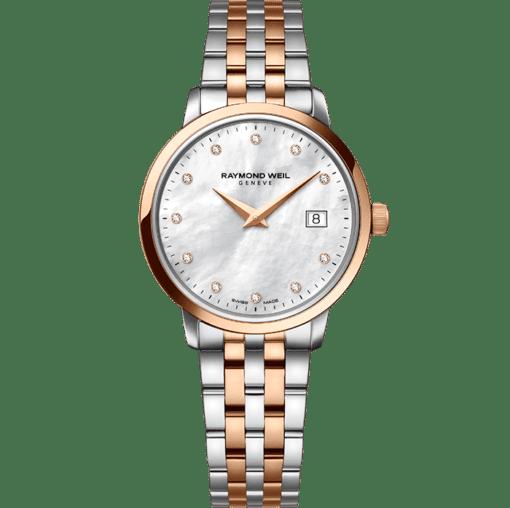 ساعة توكاتا بحركة كوارتز 11 ماسة الذهب الوردي 29 ملم ذات درجتي لون من ريموند ويل