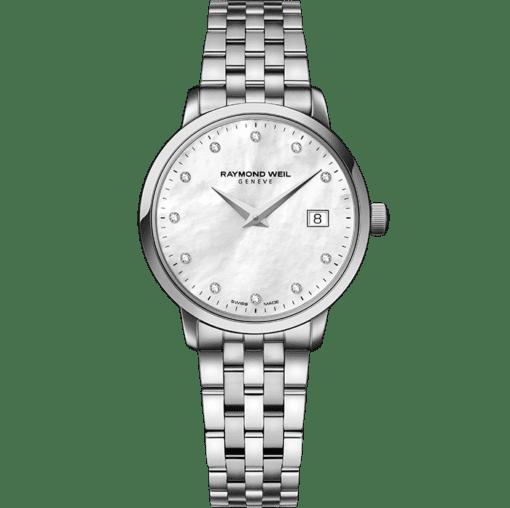 ساعة توكاتا النسائية بأم اللؤلؤ الأبيض معدني من ريموند ويل