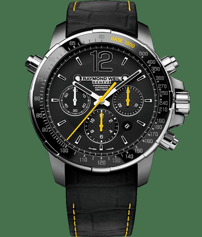 نابوكو - ساعة كرونوجراف للرجال صفراء وسوداء اللون من ريموند ويل