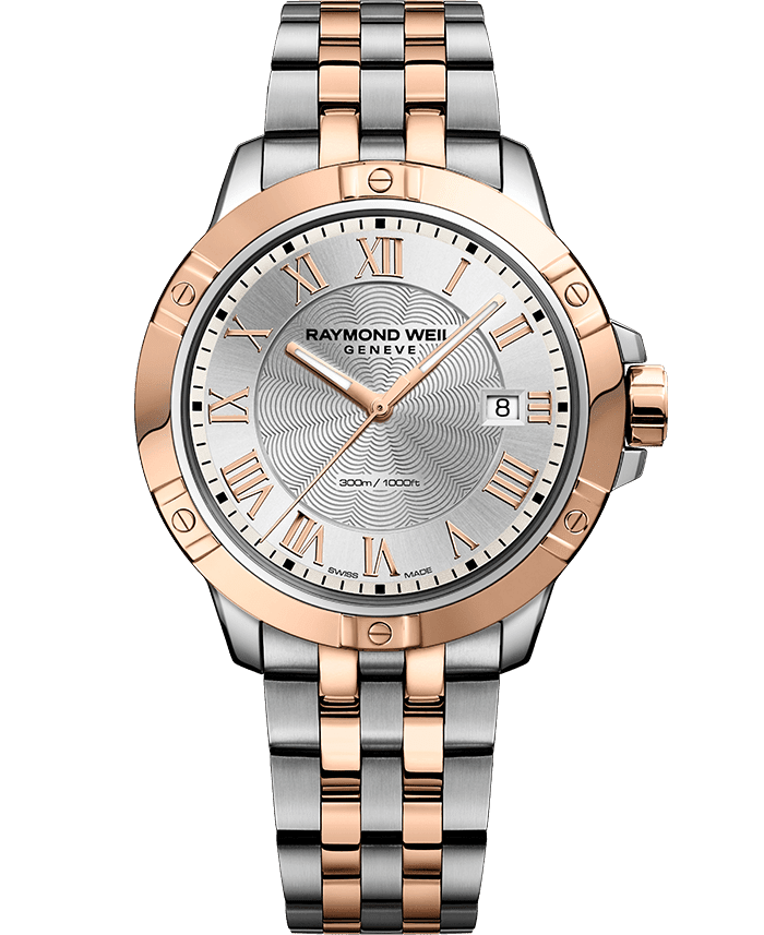 men s two tone rose gold silver dial watch tango raymond weil