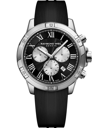 montre chronographe à quartz en acier argenté avec bracelet en caoutchouc noir tango pour homme RAYMOND WEIL