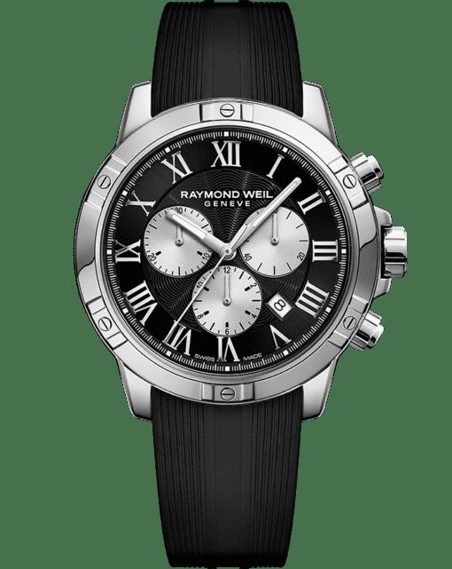 RAYMOND WEIL 探戈系列男士黑银精钢石英橡胶计时码表