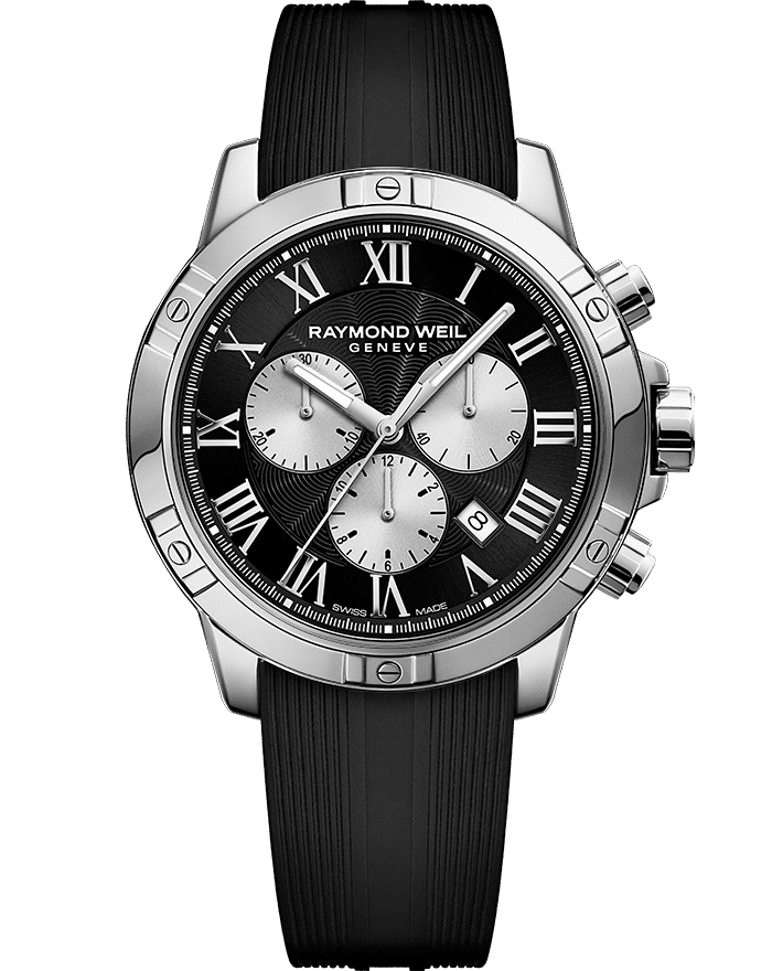 ساعة تانجو بسوار من المطاط مزودة بكرونوجراف بحركة الكوارتز معدنية باللونين الفضي والأسود للرجال من ريموند ويل